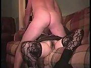 Wife garters and stockings sex on the couch romantic music