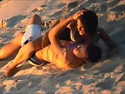 Beach horny couple fucking act