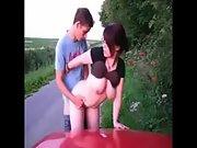 Public sex redhead big tits big cock exhibitionist outdoor