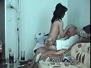 Horny brunette woman sex on sofa new woman older guy younger