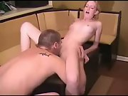 Amateur blonde fucked on a table